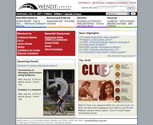 Wendt Library Website